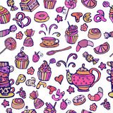 Tea party seamless pattern. Sweets pattern. Royalty Free Stock Photo