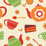 Tea party seamless pattern Royalty Free Stock Photo