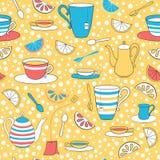 Tea party sem emenda amarelo do teste padrão Imagens de Stock Royalty Free