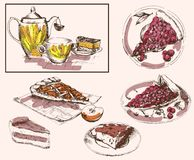 Tea party. Set of vector sketches Royalty Free Stock Photo