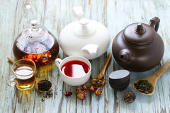 Tea Party Still Life assortment tea. Black, green, fruit Royalty Free Stock Images