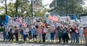 Tea Party Tax Protesters. Tea Party protesters peacefully demonstrate in Pensacola, Florida Stock Photos