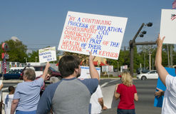 Tea Party Tax Protesters. Tea Party protesters peacefully demonstrate in Pensacola, Florida Stock Images