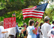 Tea Party Tax Rally. Protesters at a rally against government spending royalty free stock image