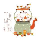 Tea party with teapot and cups. Vector illustration Stock Photos