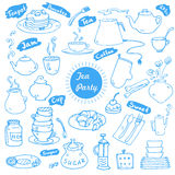 Tea party vector doodles collection Stock Image
