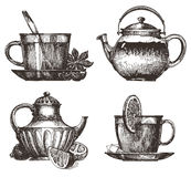 Tea party vector logo design template. drink or Stock Photos