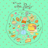 Tea party vector pattern set Stock Images