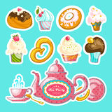 Tea Party  vector set Stock Photos