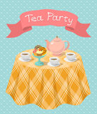 Tea Party. Vertical flat colorful illustration of a tea party with a kettle, cups, donuts, cupcakes on a table and a ribbon with the inscription. Tea party card vector illustration