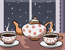 Tea party at winter night. Teapot and two cups of tea on the table with night background- vector illustration Stock Photo