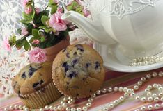 Free Tea Party With Blueberry Muffins Royalty Free Stock Photos - 10541788