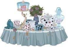Tea Party. Wonderland Tea Party decorated table stock illustration