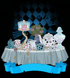 Tea Party. Wonderland Tea Party decorated table stock illustration