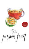 Tea from passion fruit. Hand drawn - watercolor vector Illustration Stock Photo