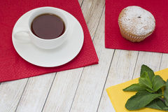 Tea with pastries. Black tea on the table with fresh pastries Stock Photo