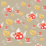 Tea patterm. Seamless pattern with red teapots, cups and cakes Stock Images