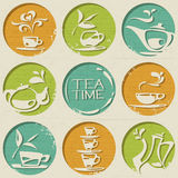 Tea pattern consists of round shapes with food elements. Tea pattern consists of round shapes with food elements such as tea cups, tea kettle and tea leaf Stock Photography