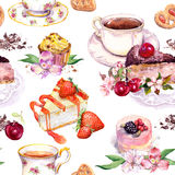 Tea pattern - flowers, teacup, cakes, bird. Food watercolor. Seamless background Stock Image