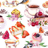 Tea pattern - flowers, teacup, cakes, bird. Food watercolor. Seamless background Stock Photo