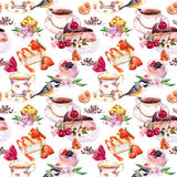 Tea pattern - flowers, teacup, cakes, bird. Food watercolor. Seamless background Royalty Free Stock Photo
