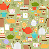 Tea pattern with teapots and cups Stock Photography