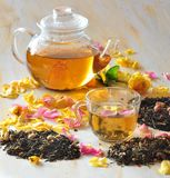 Tea with the petals of roses Royalty Free Stock Photo