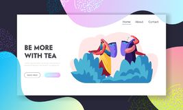 Tea Pickers Website Landing Page, Girls in Traditional Indian Dress Collecting Fresh Tea Leaves into Basket. Women Workers Job vector illustration