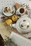 Tea picnic in the garden, fruits and nuts Royalty Free Stock Photography