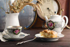 Tea with piece of applepie Stock Photography