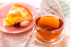 Tea and piece pie Stock Photography