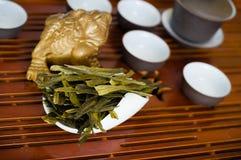 Tea leaves macro. Chinese tea in pile closeup Royalty Free Stock Photography