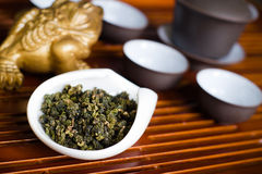 Tea in a pile. Chinese tea pile in a cup closeup Royalty Free Stock Photos