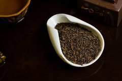 Tea chinese pile in cup on table macro. Chinese tea pile in a cup closeup Royalty Free Stock Photo