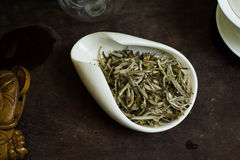 Tea leaves pile. Chinese tea pile in a cup closeup Royalty Free Stock Images