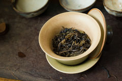 Tea leaves in cup macro. Chinese tea pile in a cup closeup Stock Image