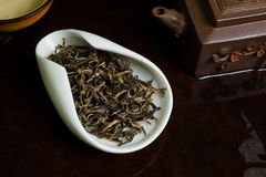 Pile of tea leaves. Chinese tea pile in a cup closeup Stock Image