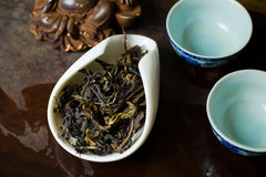 Tea leaves dry in cup macro. Chinese tea pile in a cup closeup Royalty Free Stock Photos