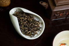 Tea leaves pile. Chinese tea pile in a cup closeup Stock Photo