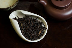 Tea leaves pile. Chinese tea pile in a cup closeup Royalty Free Stock Photography