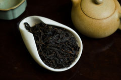 Tea leaves pile. Chinese tea pile in a cup closeup Stock Photos