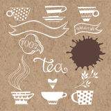 Tea plant set. Vector elements  on kraft paper. Tea. Vector collection of elements on the theme of tea Stock Images