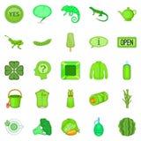 Tea plantations icons set, cartoon style. Tea plantations icons set. Cartoon set of 25 tea plantations vector icons for web isolated on white background Stock Photos
