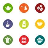 Tea pleasure icons set, flat style Royalty Free Stock Photography