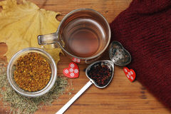 Tea. Pollen and spoon for Royalty Free Stock Photo