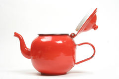 Tea pot. Red metal teapot isolated on white background Stock Photography