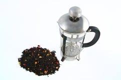 Tea pot. Isolated metallic tea pot on a white blackground Stock Photography