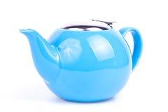 Tea pot. One blue tea pot on white background Stock Photos