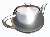 Tea pot. Image of silver classical teapot with clipping-path Royalty Free Stock Image