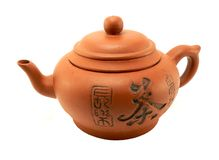 Tea pot. Chinese tea pot with orient letters Stock Photo
